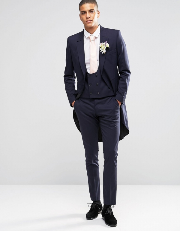 3 Piece Traditional Morning Wedding Suit in Blue - Aisle Society