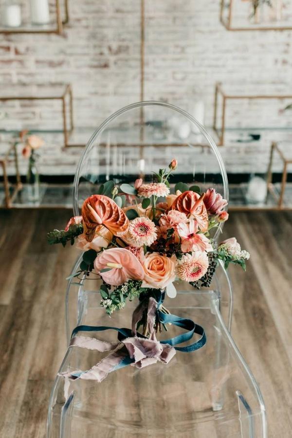 Vibrant peach and coral bridal bouquet
