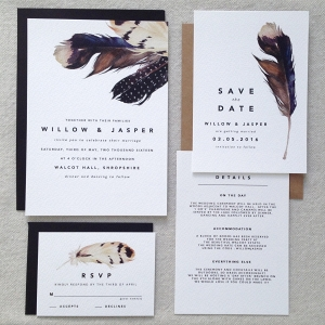Bohemian Feather Wedding Stationery Suite