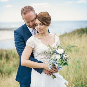 seaside couple portrait on Chic Vintage Brides