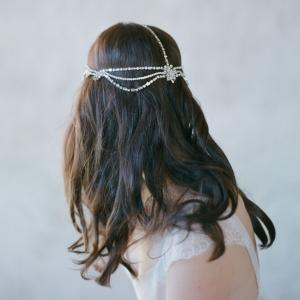 Back of Boho Bridal Rhinestone Headpiece - Style 503 by Twigs & Honey