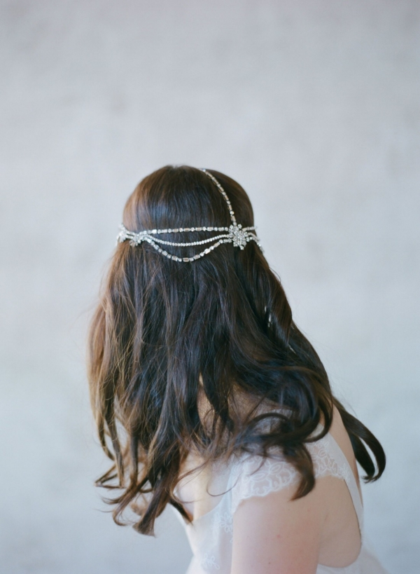 Back of Boho Bridal Rhinestone Headpiece - Style 503 by Twigs & Honey