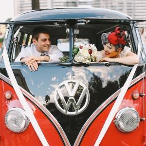 Bride & Groom in a Vintage VW Camper
