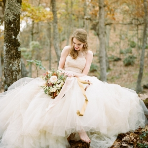 Romantic Fall Bride in a Coloured Tulle Wedding Dress