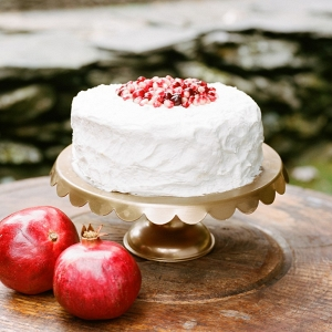 Simple One Tier Fall Wedding Cake Topped with Pomegranate