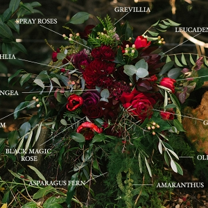 Stunning Fall Bridal Bouquet in Deep Shades of Red