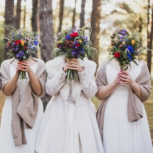 Winter Bridesmaids with Bright Foraged Bouquets