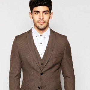 Brown Houndstooth Skinny 3 Piece Grooms Suit Jacket