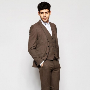 Brown Houndstooth Skinny 3 Piece Grooms Suit