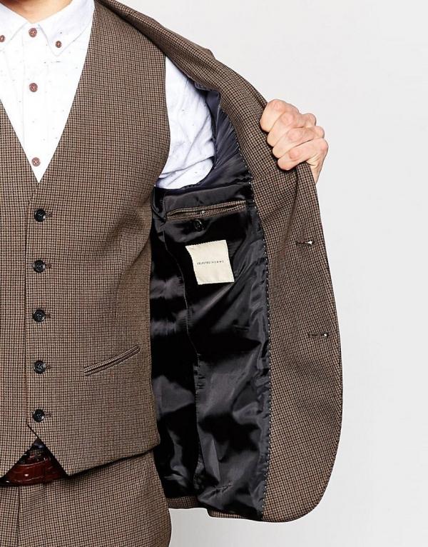 Brown Houndstooth Skinny 3 Piece Grooms Suit