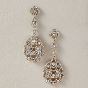 Silver Drop Bridal Earrings