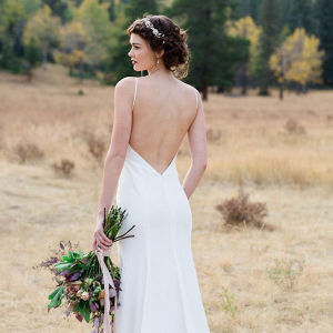 Silk Crepe Sheath Wedding Dress Back
