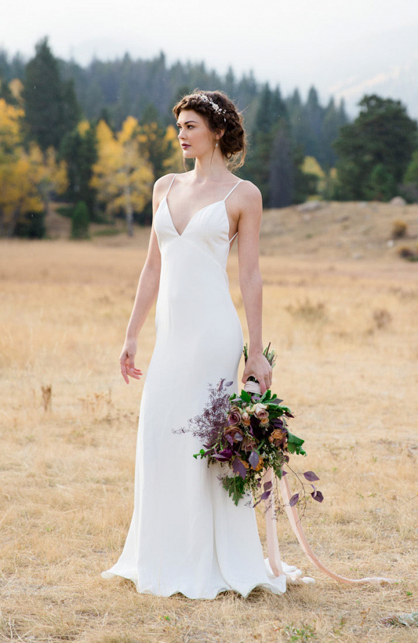 Silk Crepe Sheath Bridal Gown