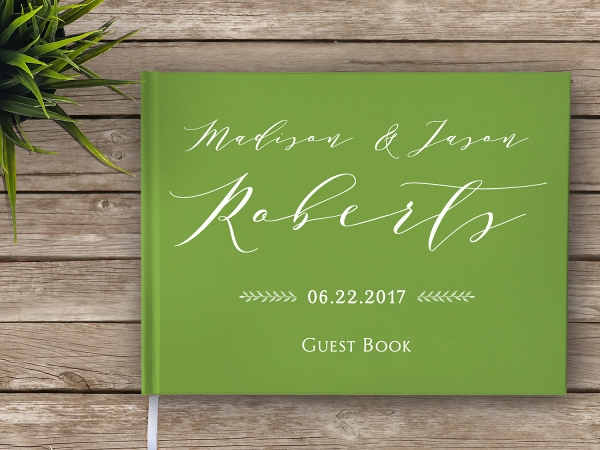Calligraphy Hardcover Wedding Guest Book