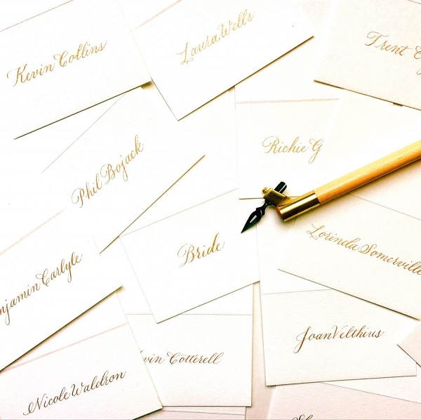 Gold Calligraphy Wedding Escort Cards