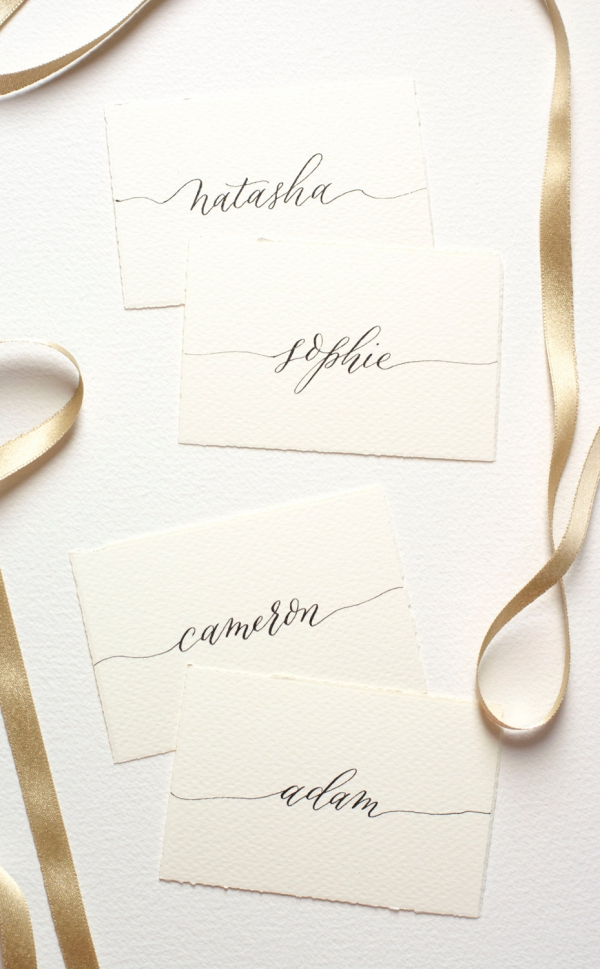Timeless Calligraphy Wedding Escort Cards