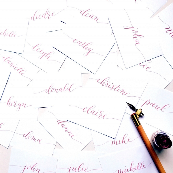 Plum Calligraphy Wedding Escort Cards