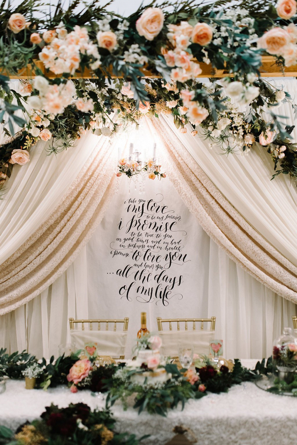 Calligraphy Wedding Vow Fabric Backdrop