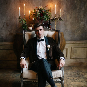 Groom in vintage chair