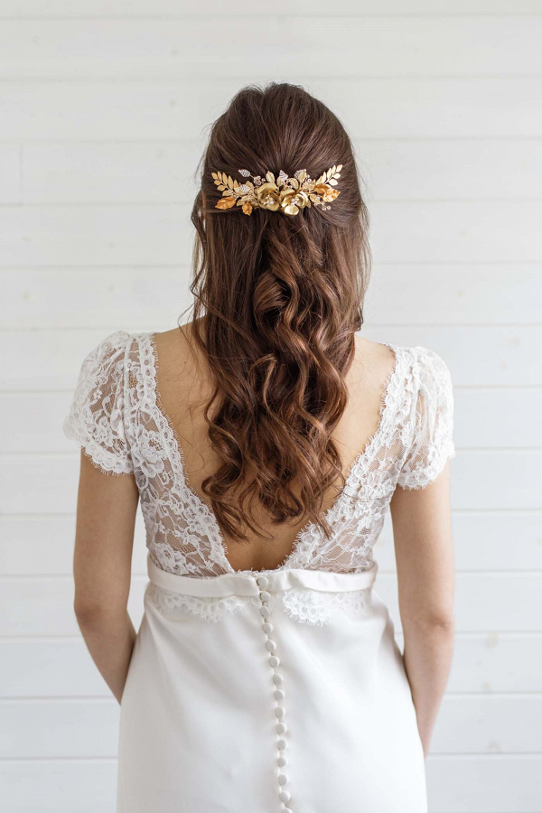 Gold Floral Bridal Hair Comb