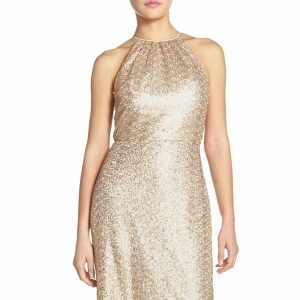 'Chandler' Sequin Tulle Halter Style Bridesmaid Dress