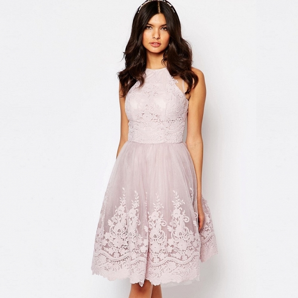 Chi Chi London High Neck Lace Midi Bridesmaid Dress