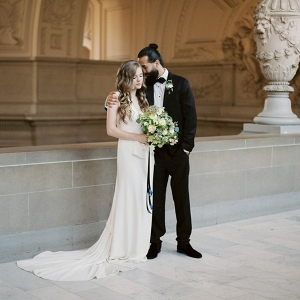Modern Vintage Bride & Groom at a City Hall Elopement