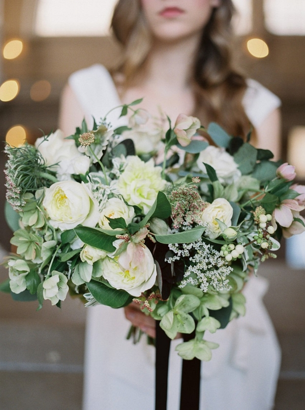 Green & White Bridal Bouquet for a City Hall Elopement