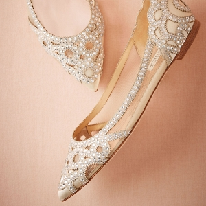 Pointed Toe Crystal Embellished Bridal Flats