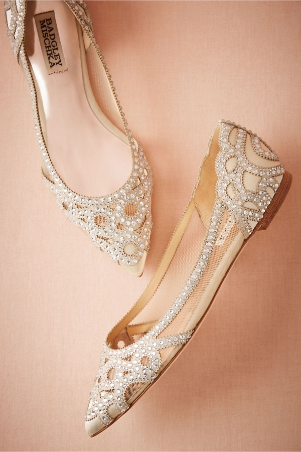 Pointed Toe Crystal Embellished Bridal Flats