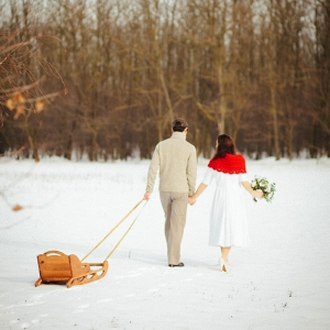 Snowy Wedding Sled Getaway