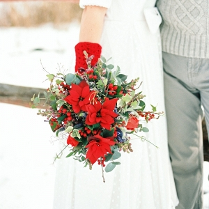 Red Holiday Season Bridal Bouquet