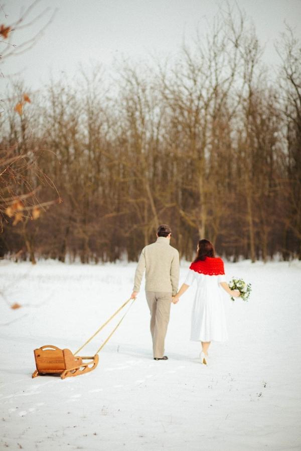 Snowy Wedding Sled Getaway