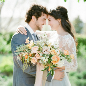Romantic Bride & Groom with Bridal Bouquet