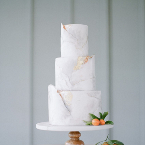 Elegant Gray Marble Wedding Cake