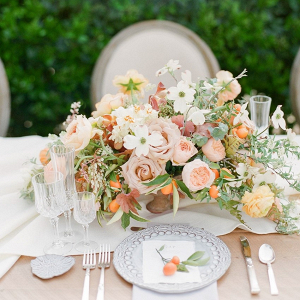 Modern Vintage Peach Wedding Floral Centerpiece