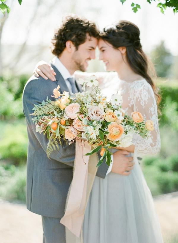 Romantic Bride & Groom with Bridal Bouquet