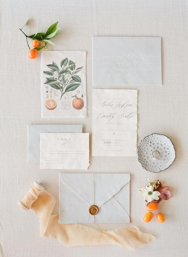 Elegant Citrus Wedding Invitiation Suite