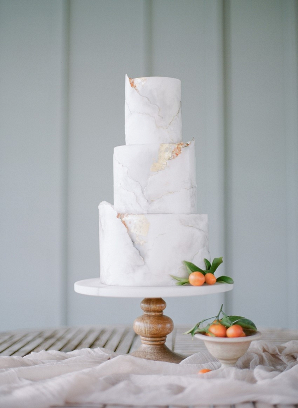 Elegant Gray Marble Wedding Cake