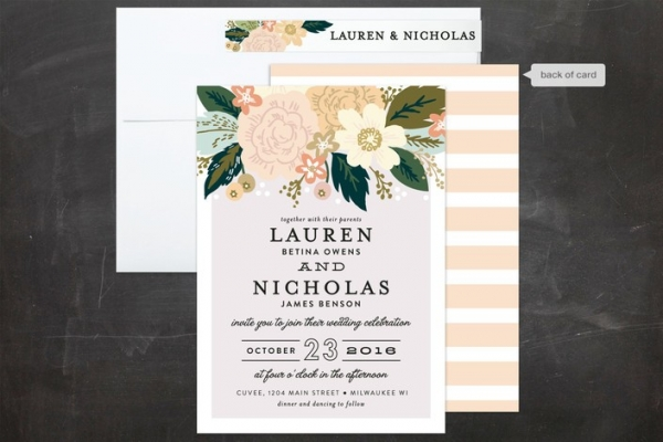 Classic Floral Wedding Invitations & Envelope