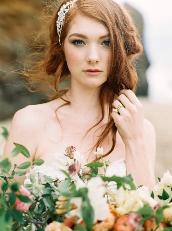 Romantic red hair bride on Chic Vintage Brides