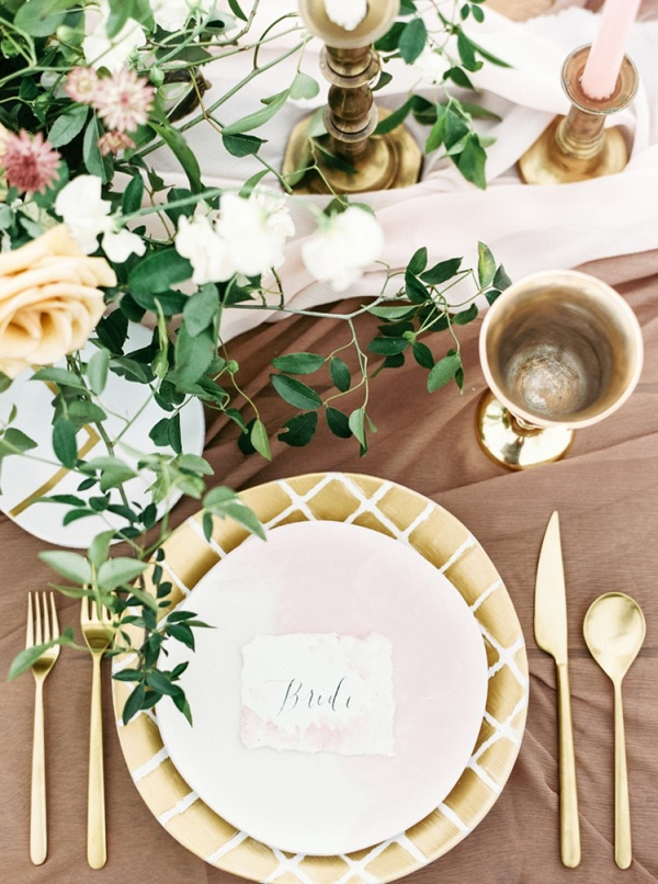 Gold place setting on Chic Vintage Brides