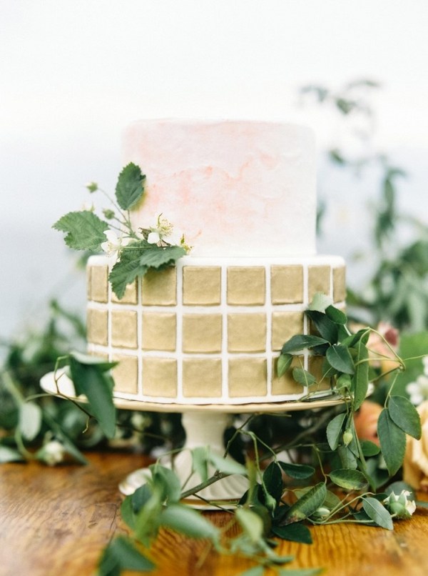 Watercolor and gold wedding cake on Chic Vintage Brides