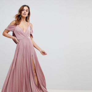 Cowl Back Pleated Maxi Dress