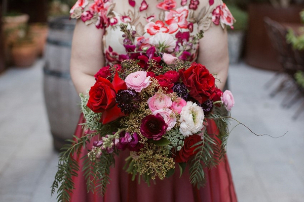 Lush red bridal bouquet