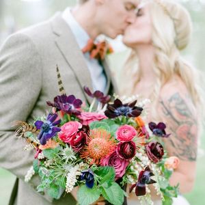 Purple & Pink Boho Vintage Bridal Bouquet