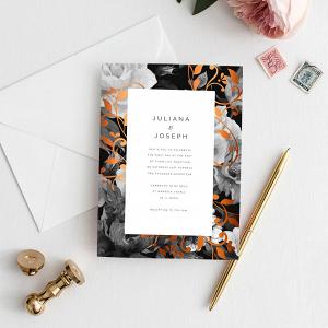 Copper Floral Wedding Invitation