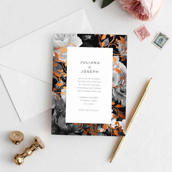 Copper Floral Wedding Invitation