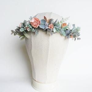 Peach & Jade Bridal Flower Crown