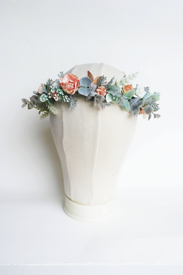 Peach & Jade Bridal Flower Crown